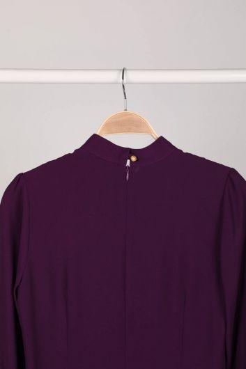 MARKAPIA WOMAN - Сливовая женская блузка с деталями (1)