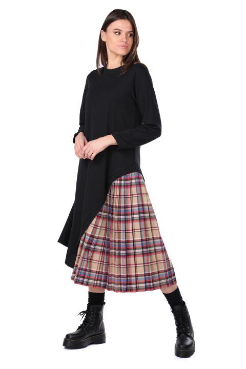 Pilise Detaylı Asimetrik Siyah Kadın Sweat Elbise