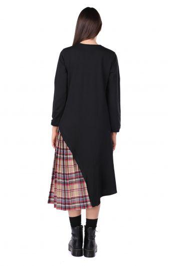 Pilise Detaylı Asimetrik Siyah Kadın Sweat Elbise - Thumbnail
