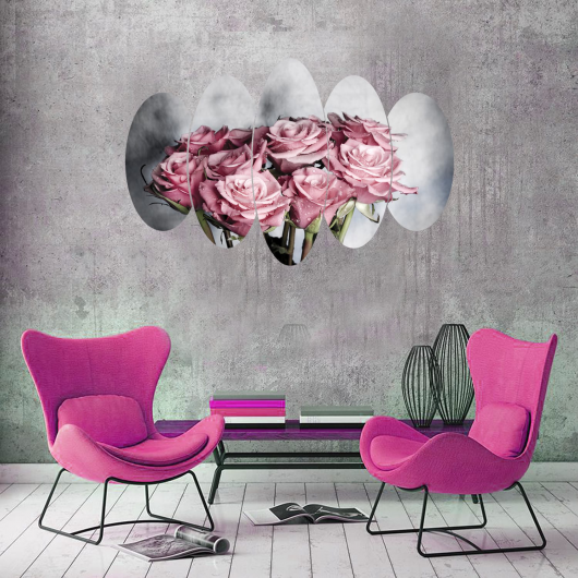 Pink Bouquet Rose 5 Piece Mdf Painting - Thumbnail