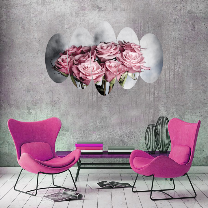 Pink Bouquet Rose 5 Piece Mdf Painting