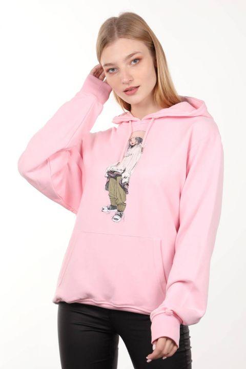 Розовая женская толстовка оверсайз с капюшоном с принтом