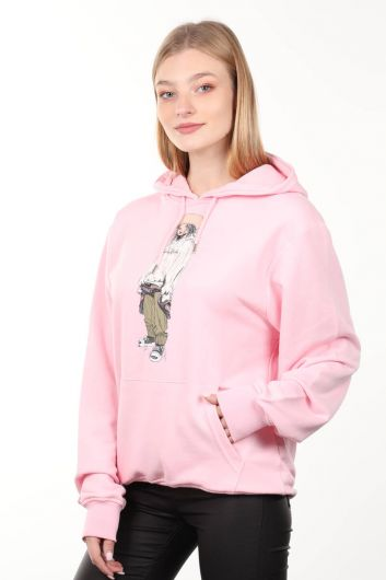 MARKAPIA WOMAN - Pink Printed Oversized Hooded Women's Sweatshirt (1)