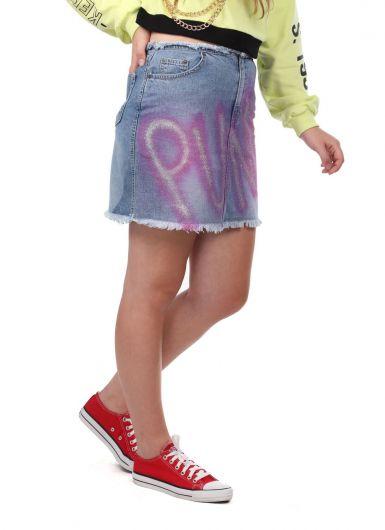 Розовая джинсовая мини-юбка в стиле панк Markapia - Thumbnail
