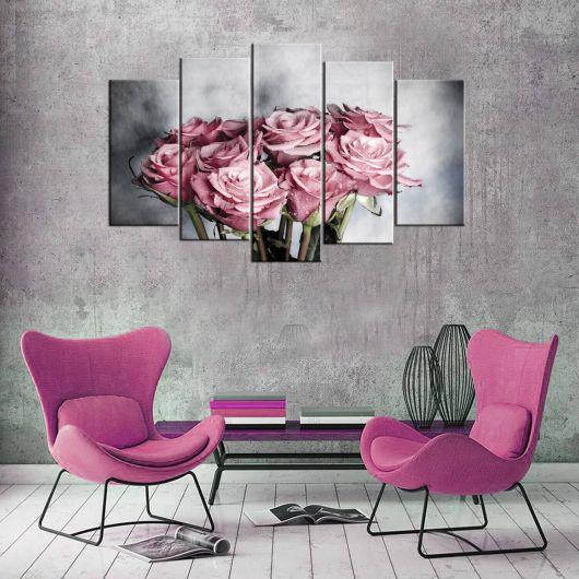 Розовая роза 5 шт Mdf Живопись - Thumbnail