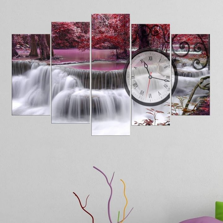 Pink Waterfall 5 Piece Mdf Clock Table