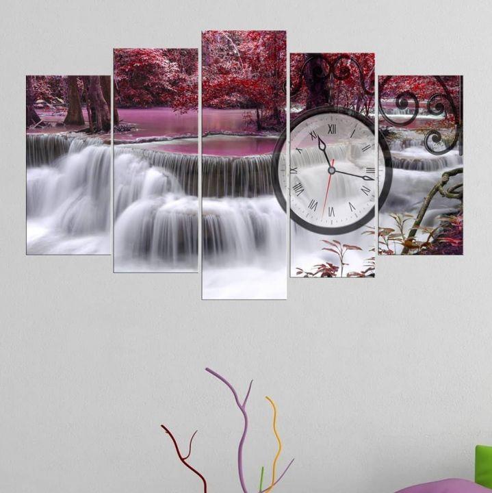 Розовый водопад5 шт. Стол с часами из МДФ