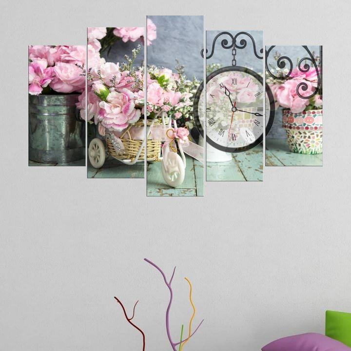 Pink Hyacinth 5 Piece Mdf Clock Table