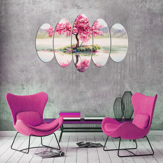 Pink Tree 5 Piece Mdf Painting - Thumbnail