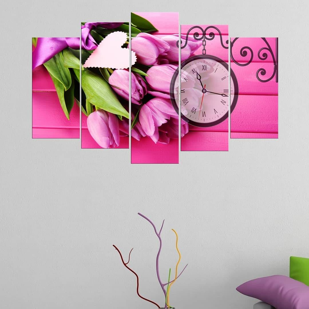 Розовый тюльпан5 шт. Стол для часов из МДФ