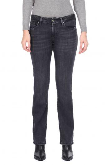 Дымчатые женские джинсовые брюки с прямыми штанинами - Thumbnail