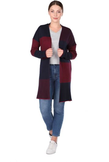 COLORFUL LONG PLAID WOMEN CARDIGAN - Thumbnail