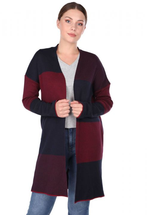 COLORFUL LONG PLAID WOMEN CARDIGAN