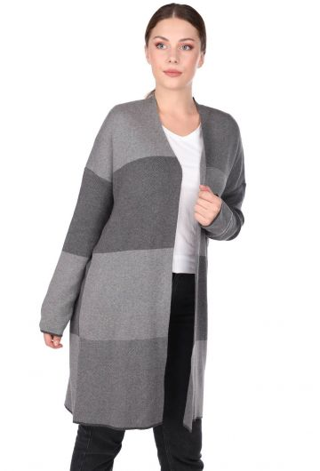 MARKAPIA WOMAN - Gray Open Front Plaid Women's Knitwear Cardigan (1)