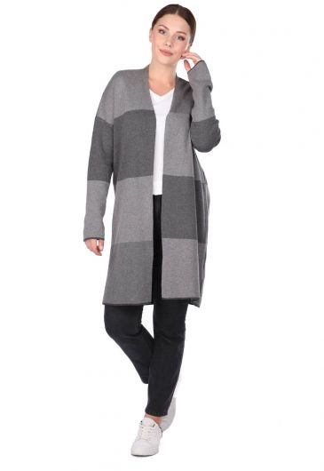 LONG SLEEVE PLAID WOMEN CARDIGAN - Thumbnail