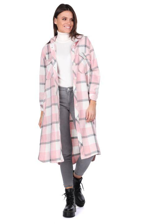 Длинная розовая женская куртка-рубашка в клетку Oversize