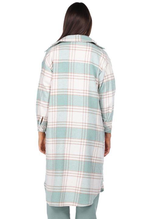 Plaid Oversize Long Women Shirt Jacket