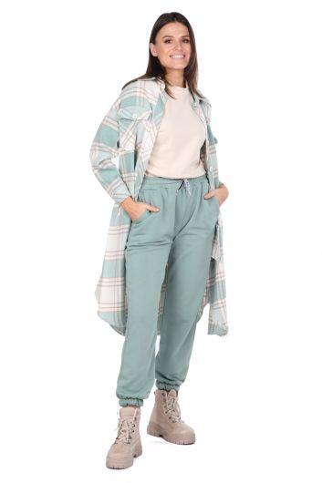 Plaid Oversize Long Women Shirt Jacket - Thumbnail