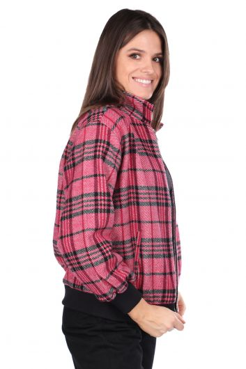MARKAPIA WOMAN - Oversize Pink Women Plaid Jacket (1)