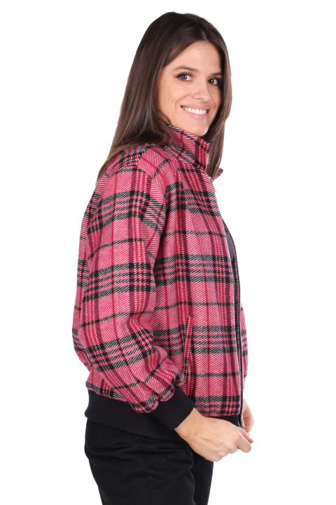 Oversize Pink Women Plaid Jacket