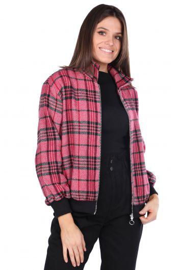 Розовая женская клетчатая куртка оверсайз - Thumbnail