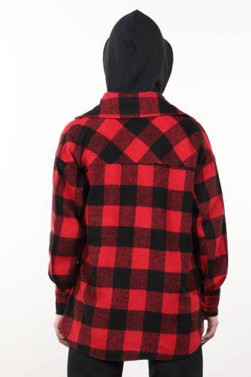 قميص نسائي سميك كبير الحجم بجيوب منقوشة - Thumbnail