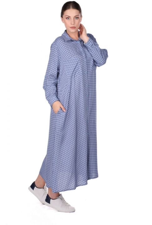 فستان قميص منقوش