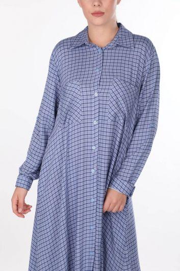 فستان قميص منقوش - Thumbnail