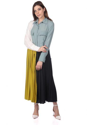 فستان ملون مطوي - Thumbnail