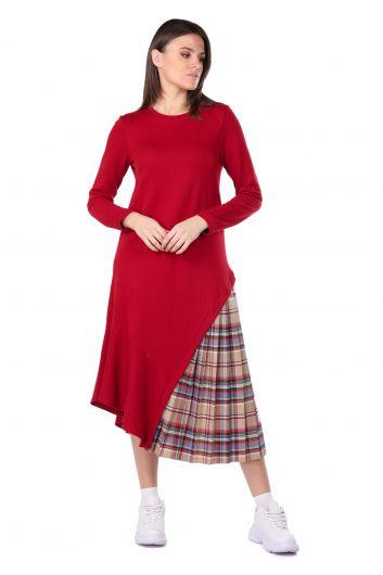 Pleated Detail Asymmetric Women's Sweat Dress - Thumbnail