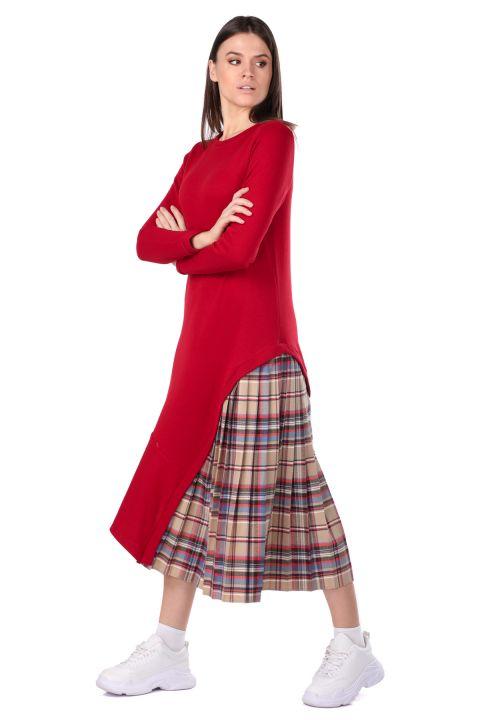 Pleated Detail Asymmetric Women's Sweat Dress