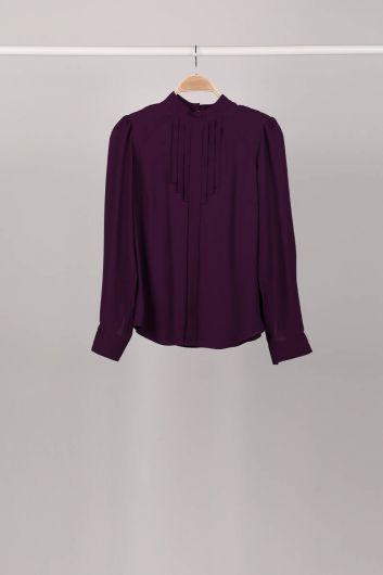 Женская блузка Damson со складками и детализированной отделкой - Thumbnail