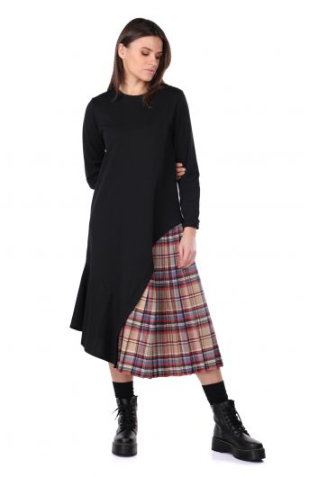 Асимметричное черное женское спортивное платье с плиссировкой и детализированной отделкой - Thumbnail