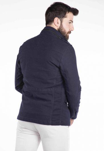 Pocket Detailed Men's Jean Jacket - Thumbnail