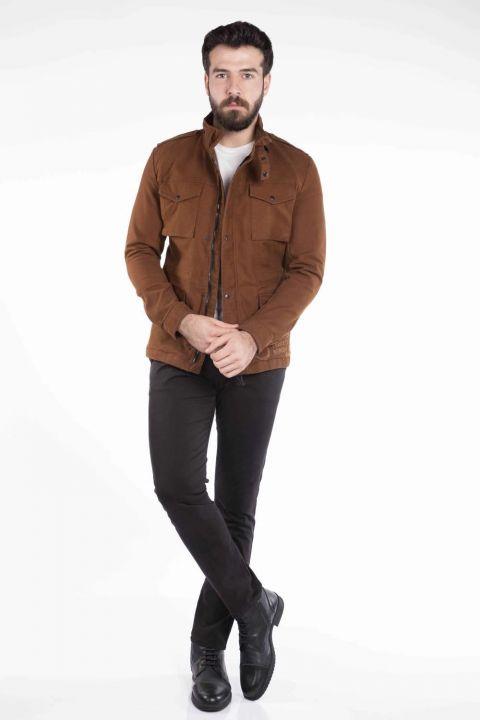 Карманная детализированная мужская джинсовая куртка
