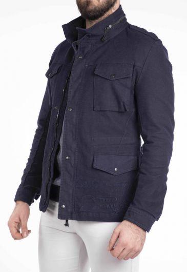 Карманная детализированная мужская джинсовая куртка - Thumbnail