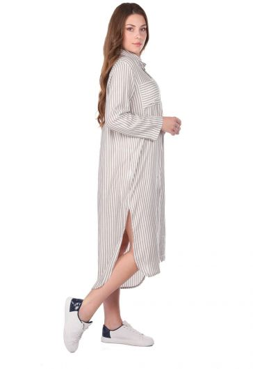MARKAPIA WOMAN - فستان قميص نسائي مخطط (1)