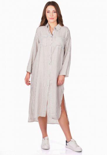 Striped Women Shirt Dress - Thumbnail
