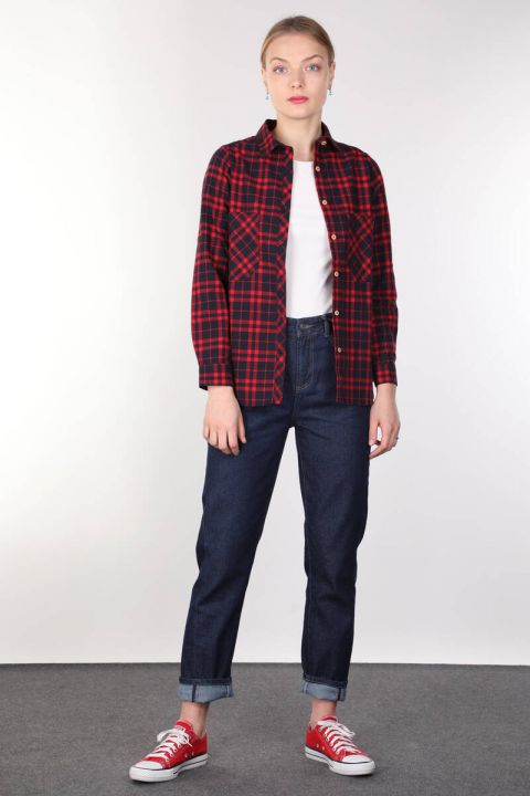 Pockets Burgundy Plaid Women's Shirt