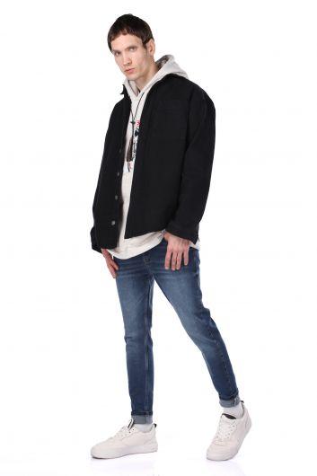Мужская джинсовая рубашка оверсайз с карманами - Thumbnail