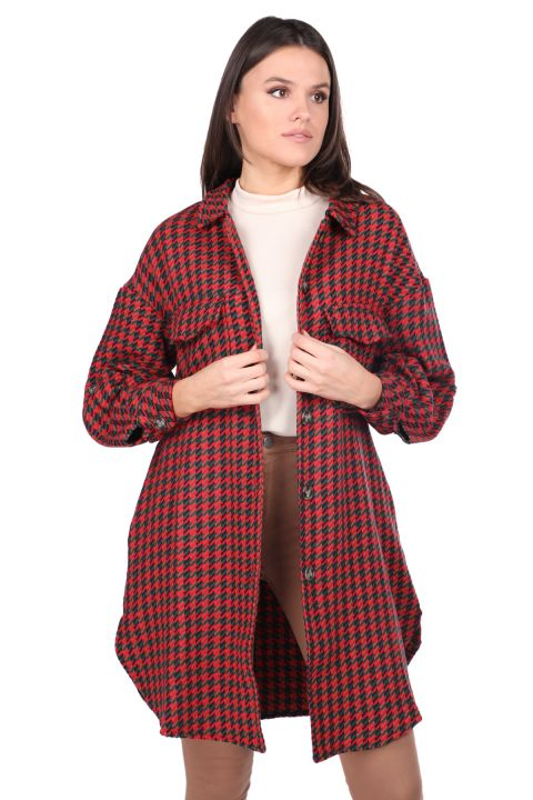 Oversize Red Long Women's Jacket with Pockets