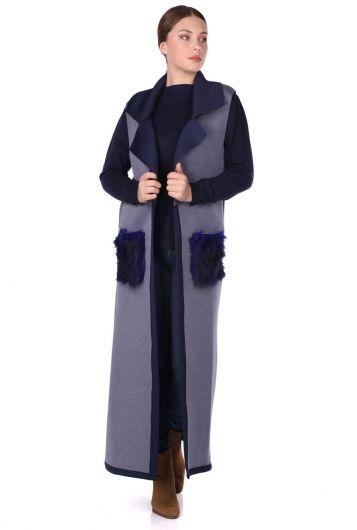 ثوب طويل بدون أكمام مع جيوب - Thumbnail