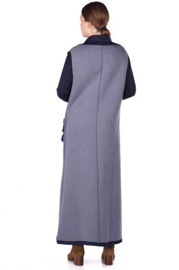 Plush Detailed Sleeveless Scuba Long Cape With Pockets - Thumbnail