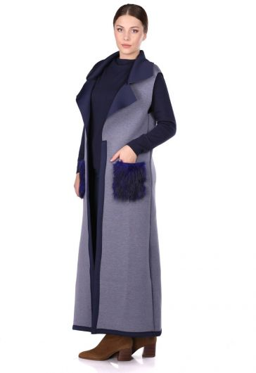 MARKAPIA WOMAN - Плюшевая длинная накидка без рукавов с аквалангом и карманами (1)