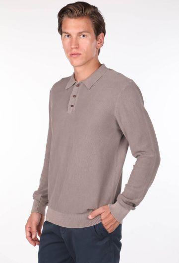 Men's Beige Polo Neck Sweater - Thumbnail