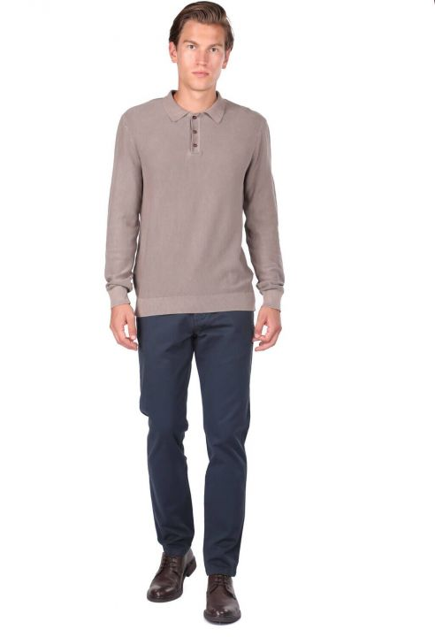 Men's Beige Polo Neck Sweater