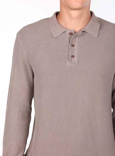 Мужской бежевый свитер с воротником-поло - Thumbnail