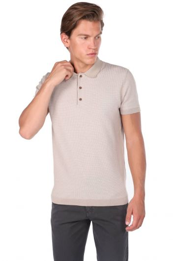 Polo Neck Beige Knitwear T-Shirt - Thumbnail