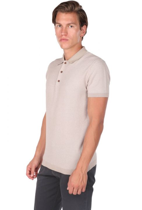 Polo Neck Beige Knitwear Men's T-Shirt