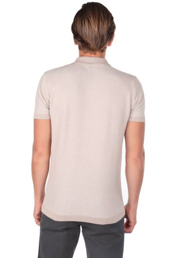 Polo Neck Beige Knitwear Men's T-Shirt - Thumbnail